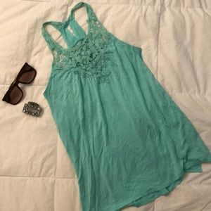 Maurices Turquoise crochet racer back tank top